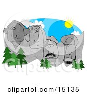 Evergreen Trees In Front Of George Washington Thomas Jefferson Theodore Roosevelt And Abraham Lincoln Sculptures On Mount Rushmore On A Sunny Day South Dakota Clipart Graphic by djart