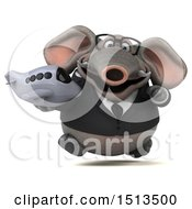 3d Business Elephant Holding A Plane On A White Background