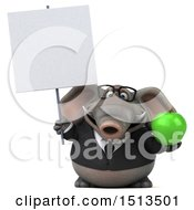 3d Business Elephant Holding An Apple On A White Background