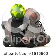3d Business Elephant Holding A Globe On A White Background