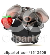 3d Business Elephant Holding A Strawberry On A White Background