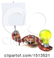 3d Crab Holding A Light Bulb On A White Background