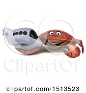 Clipart Of A 3d Crab Holding A Plane On A White Background Royalty Free Illustration
