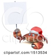 3d Christmas Crab Holding A Sign On A White Background