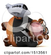 Clipart Of A 3d Brown Business Cow Holding A Plane On A White Background Royalty Free Illustration