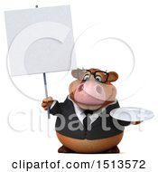 3d Brown Business Cow Holding A Plate On A White Background