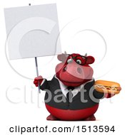 3d Red Business Bull Holding A Hot Dog On A White Background