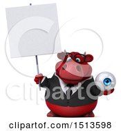 3d Red Business Bull Holding An Eyeball On A White Background