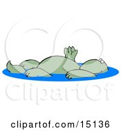 Relaxed Green Dinosaur Floating On His Back In A Swimming Pool And Waving