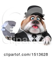 3d Gentleman Or Business Bulldog Holding A Euro On A White Background