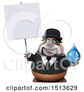 3d Gentleman Or Business Bulldog Holding A Water Drop On A White Background