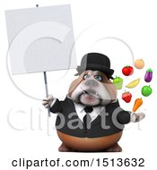 3d Gentleman Or Business Bulldog Holding Produce On A White Background