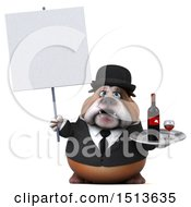 3d Gentleman Or Business Bulldog Holding Wine On A White Background