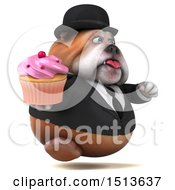 3d Gentleman Or Business Bulldog Holding A Cupcake On A White Background