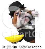 3d Gentleman Or Business Bulldog Holding A Banana On A White Background