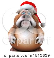 Clipart Of A 3d Christmas Bulldog On A White Background Royalty Free Illustration