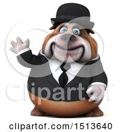 Clipart Of A 3d Gentleman Or Business Bulldog Waving On A White Background Royalty Free Illustration