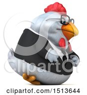 3d Chubby White Business Chicken On A White Background
