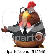 Clipart Of A 3d Chubby Brown Business Chicken Presenting On A White Background Royalty Free Illustration