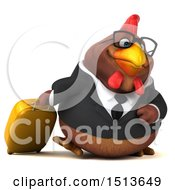 Clipart Of A 3d Traveling Chubby Brown Business Chicken On A White Background Royalty Free Illustration