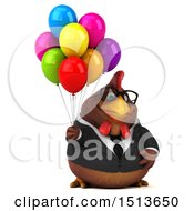 Clipart Of A 3d Chubby Brown Business Chicken With Balloons On A White Background Royalty Free Illustration