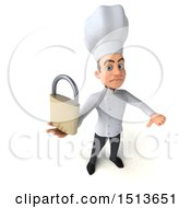 Clipart Of A 3d Young White Male Chef Holding A Padlock On A White Background Royalty Free Illustration