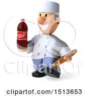 Clipart Of A 3d Short White Male Chef Holding A Soda And Bread On A White Background Royalty Free Illustration