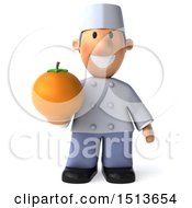 Clipart Of A 3d Short White Male Chef Holding An Orange On A White Background Royalty Free Illustration