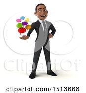 3d Young Black Business Man Holding Messages On A White Background