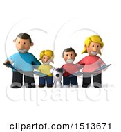 3d Casual White Family With A Dog And Tablets On A White Background
