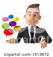 3d White Business Man Holding Messages On A White Background