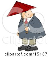 Caucasian Businessman In A Red Tie Blue Jacket And Tan Pants Holding A Red Umbrella And Looking Both Ways Before Crossing A Street