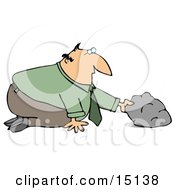 Businessman In A Green Shirt And Tie Kneeling To Look And See What He Can Discover Under A Rock Clipart Graphic