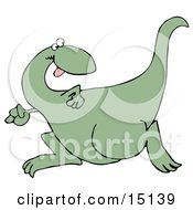 Goofy Green Dinosaur Running And Looking Back Over His Shoulder While Playing A Game Of Tag Or Chase Graphic Clipart