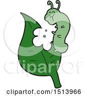Cartoon Caterpillar Munching Leaf by lineartestpilot