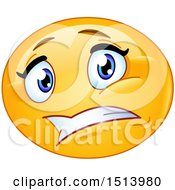 Clipart Of A Yellow Female Emoji Face Expressing Worry Royalty Free Vector Illustration