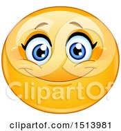 Clipart Of A Yellow Female Emoji Face Smiling Royalty Free Vector Illustration
