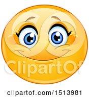 Poster, Art Print Of Yellow Female Emoji Face Smiling