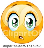Poster, Art Print Of Yellow Female Emoji Face Expressing Concern