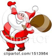 Clipart Of A Cartoon Happy Christmas Santa Claus Presenting Royalty Free Vector Illustration by yayayoyo