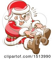 Clipart Of A Christmas Santa Claus Trying To Stretch And Touch His Toes Royalty Free Vector Illustration