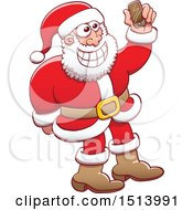 Clipart Of A Christmas Santa Claus Taking A Selfie Royalty Free Vector Illustration