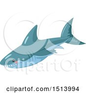 Clipart Of A Blue Shark Royalty Free Vector Illustration by Pushkin