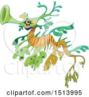 Clipart Of A Green And Orange Sea Dragon Fish Royalty Free Vector Illustration
