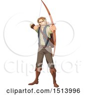 Clipart Of A Male Archer Robin Hood Aiming An Arrow Royalty Free Vector Illustration by Pushkin