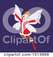 Clipart Of A Female Christmas Angel In The Snow Royalty Free Vector Illustration