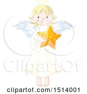 Clipart Of A Cute Female Angel Holding A Star Royalty Free Vector Illustration