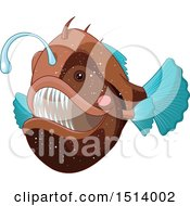 Clipart Of A Brown And Blue Angler Fish Royalty Free Vector Illustration