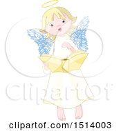 Clipart Of A Cute Female Angel Reading A Book Royalty Free Vector Illustration
