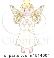 Clipart Of A Cute Female Angel Praying Royalty Free Vector Illustration
